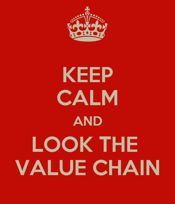 KEEP CALM AND LOOK THE  VALUE CHAIN