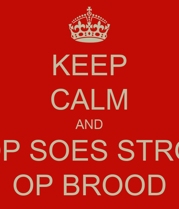KEEP CALM AND LOOP SOES STROOP OP BROOD
