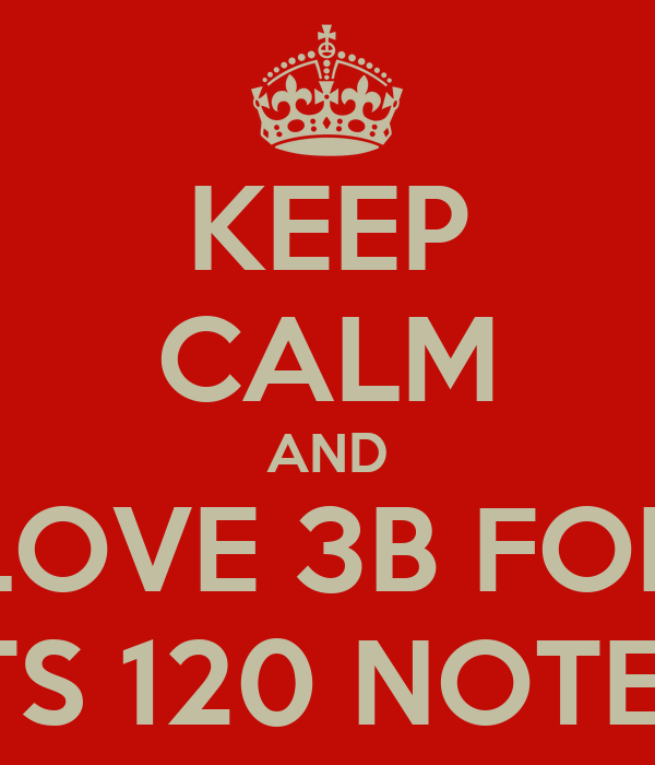 KEEP CALM AND LOVE 3B FOR ITS 120 NOTES