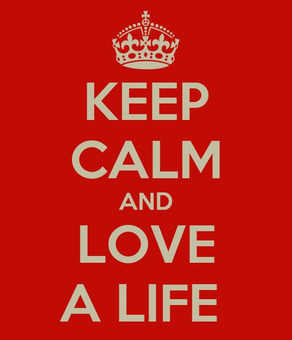 KEEP CALM AND LOVE A LIFE