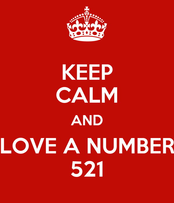 KEEP CALM AND LOVE A NUMBER 521