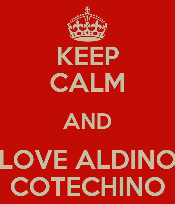 KEEP CALM AND LOVE ALDINO COTECHINO