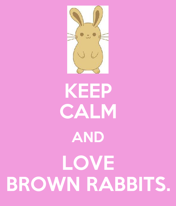 KEEP CALM AND LOVE BROWN RABBITS.