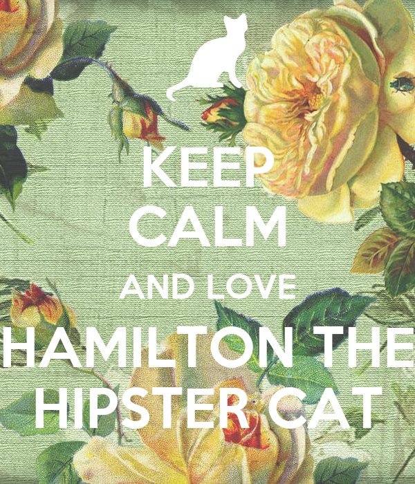 KEEP CALM AND LOVE HAMILTON THE HIPSTER CAT
