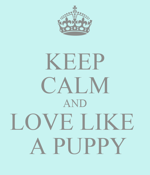 KEEP CALM AND LOVE LIKE   A PUPPY