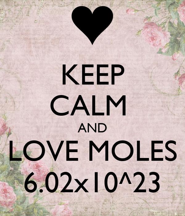 KEEP CALM  AND LOVE MOLES 6.02x10^23