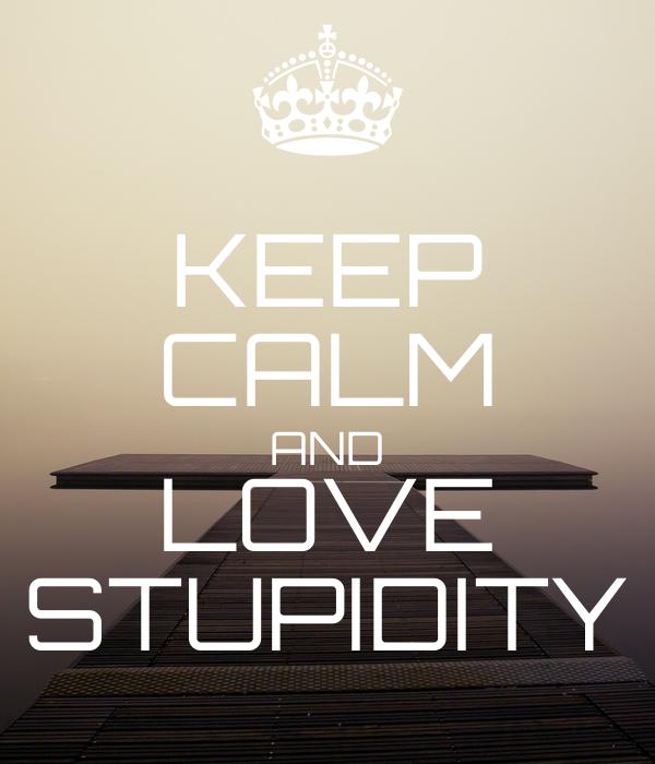 KEEP CALM AND LOVE STUPIDITY