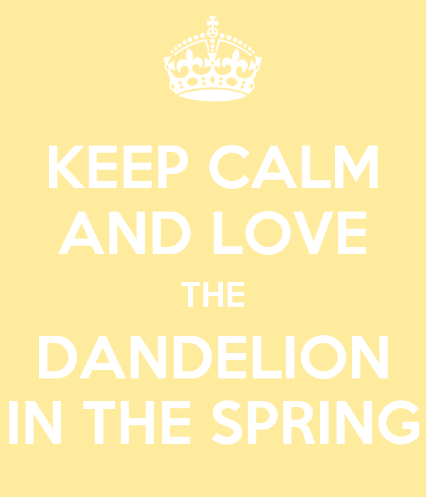 KEEP CALM AND LOVE THE DANDELION IN THE SPRING