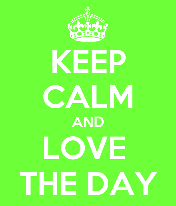 KEEP CALM AND LOVE  THE DAY