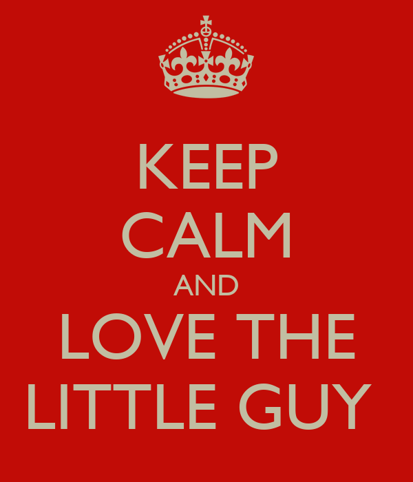 KEEP CALM AND LOVE THE LITTLE GUY