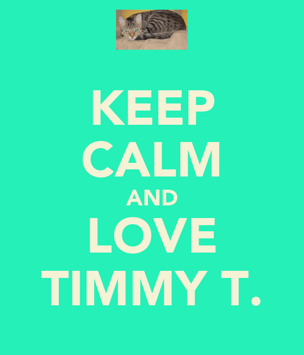 KEEP CALM AND LOVE TIMMY T.