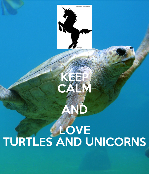 KEEP CALM AND LOVE TURTLES AND UNICORNS