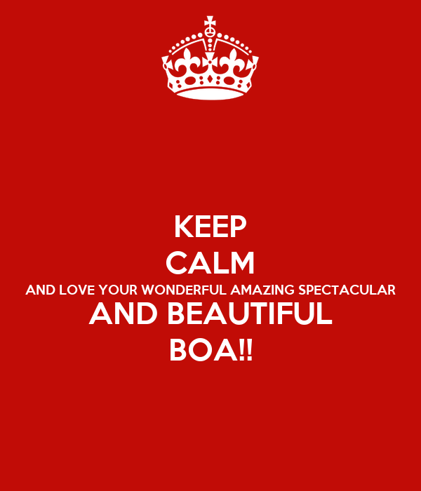 KEEP CALM AND LOVE YOUR WONDERFUL AMAZING SPECTACULAR AND BEAUTIFUL BOA!!