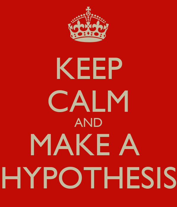 KEEP CALM AND MAKE A  HYPOTHESIS