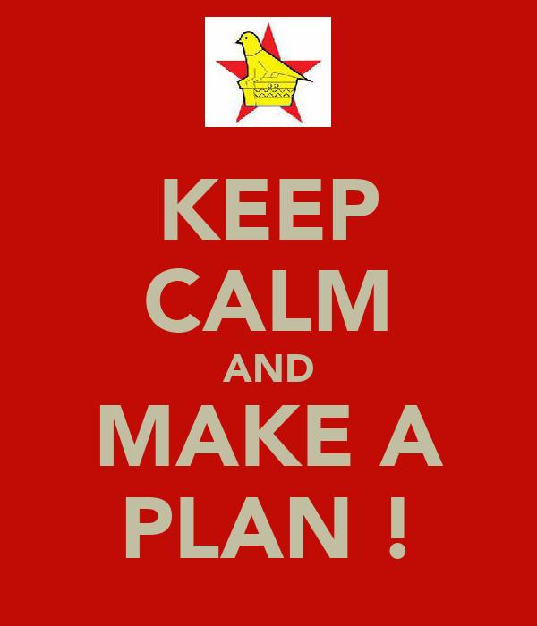 KEEP CALM AND MAKE A PLAN !