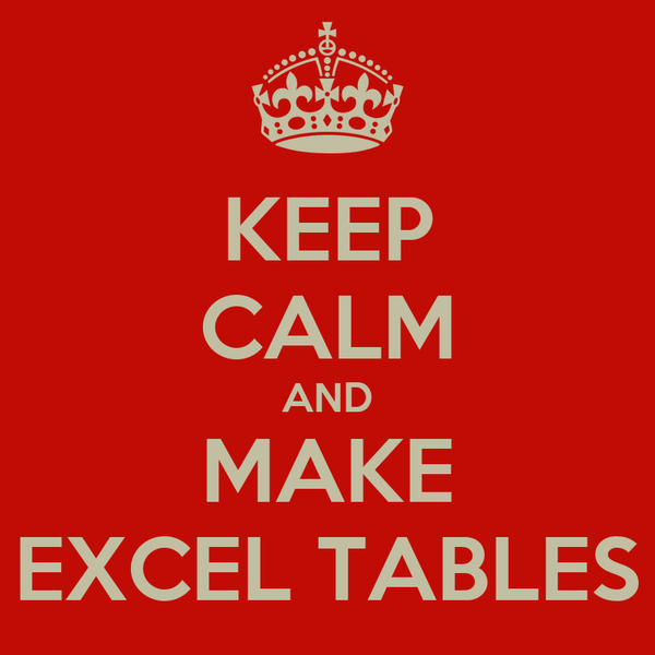 KEEP CALM AND MAKE EXCEL TABLES