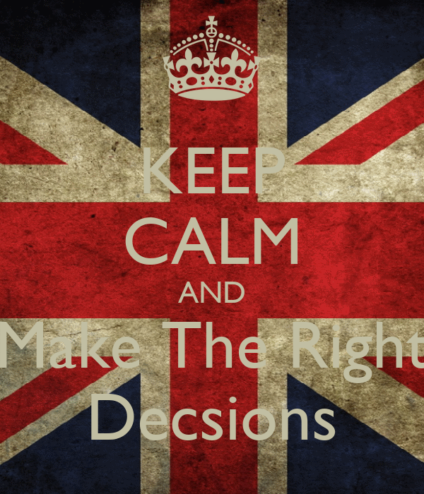 KEEP CALM AND Make The Right  Decsions