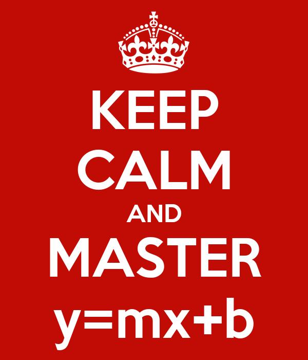 KEEP CALM AND MASTER y=mx+b
