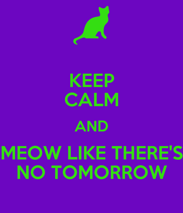 KEEP CALM AND MEOW LIKE THERE'S NO TOMORROW