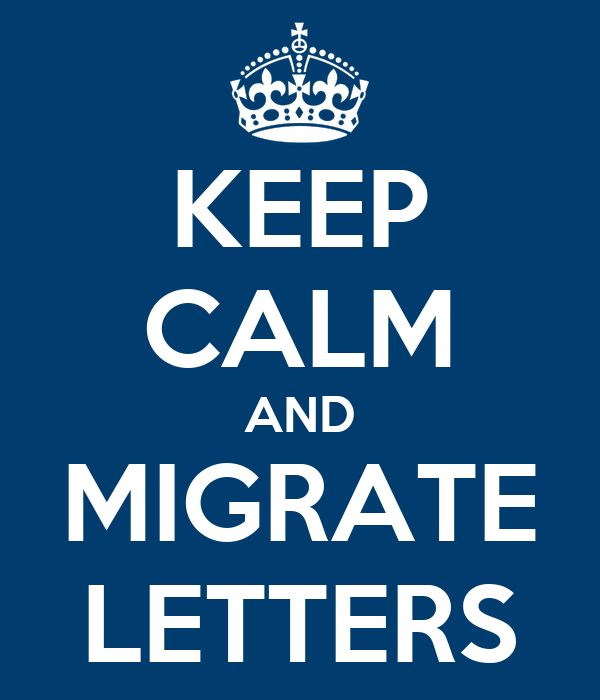 KEEP CALM AND MIGRATE LETTERS
