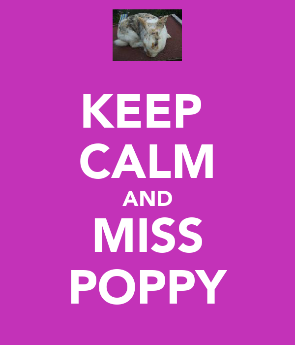 KEEP  CALM AND MISS POPPY