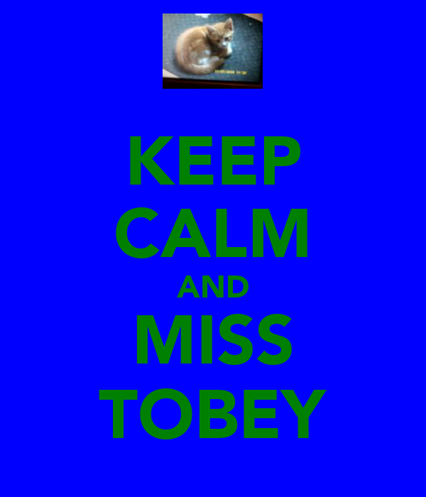 KEEP CALM AND MISS TOBEY
