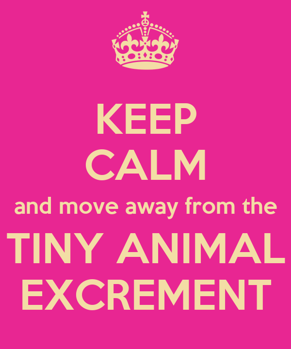 KEEP CALM and move away from the TINY ANIMAL EXCREMENT