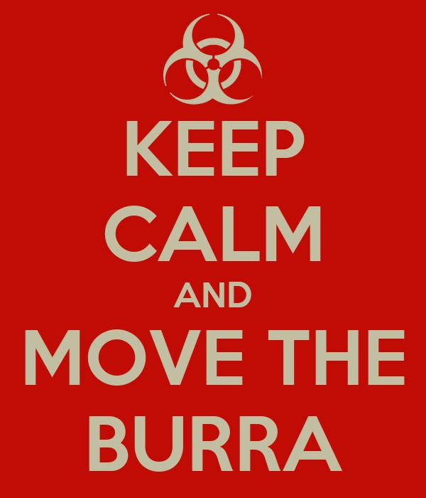 KEEP CALM AND MOVE THE BURRA