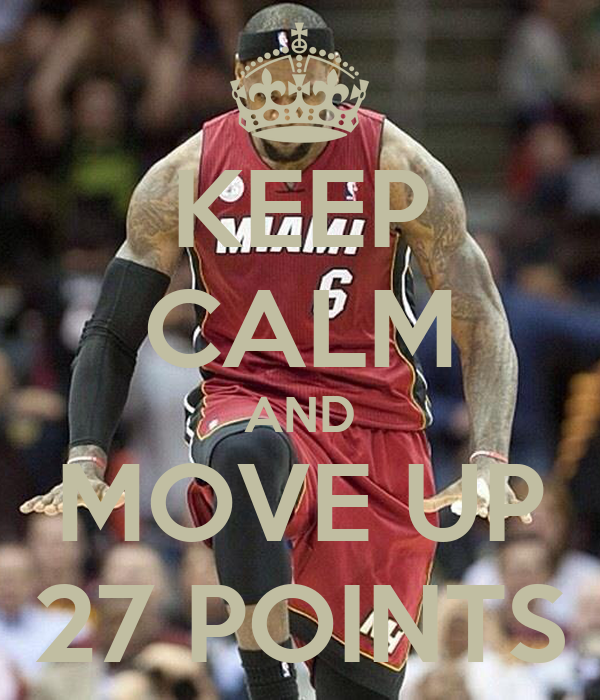 KEEP CALM AND MOVE UP 27 POINTS