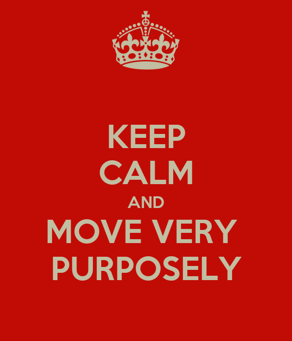 KEEP CALM AND MOVE VERY  PURPOSELY