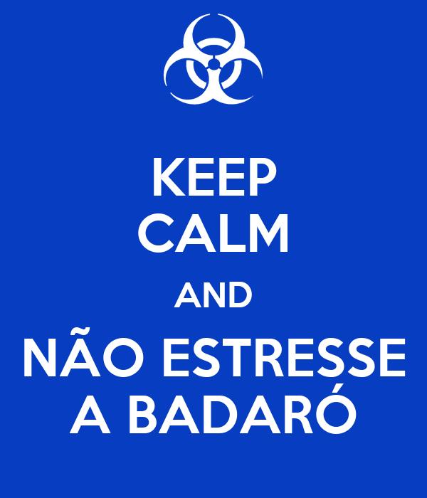 KEEP CALM AND NÃO ESTRESSE A BADARÓ