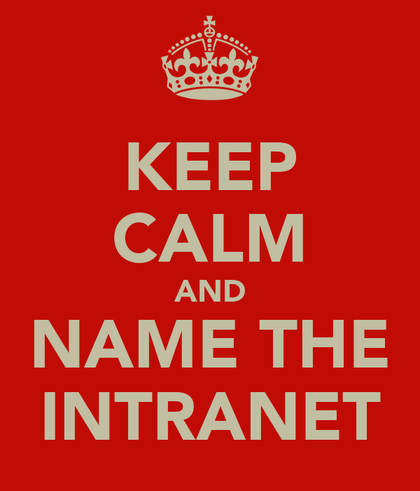 KEEP CALM AND NAME THE INTRANET