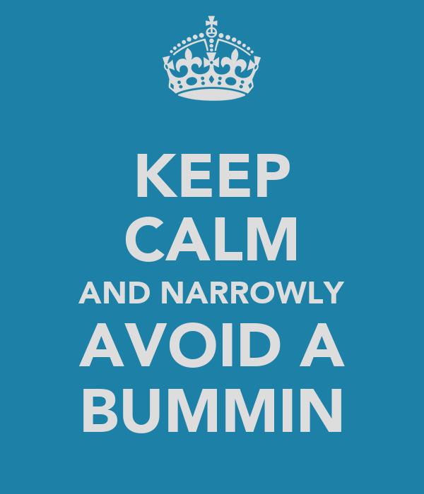 KEEP CALM AND NARROWLY AVOID A BUMMIN