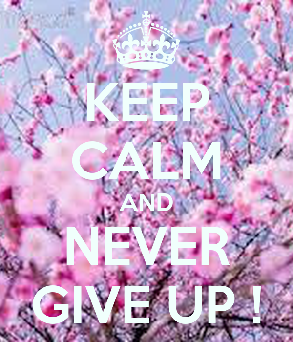 KEEP CALM AND NEVER GIVE UP !