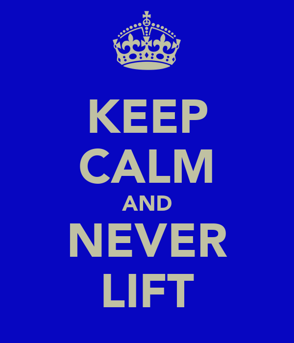 KEEP CALM AND NEVER LIFT