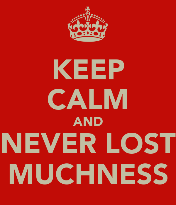 KEEP CALM AND NEVER LOST MUCHNESS