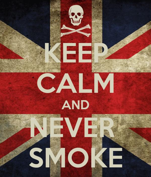 KEEP CALM AND NEVER  SMOKE