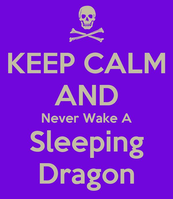 KEEP CALM AND Never Wake A Sleeping Dragon