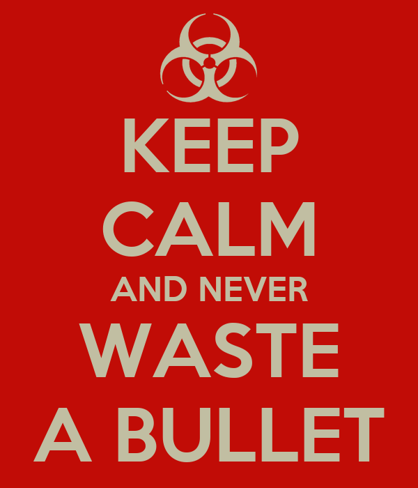 KEEP CALM AND NEVER WASTE A BULLET