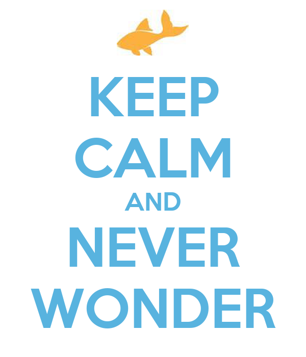 KEEP CALM AND NEVER WONDER