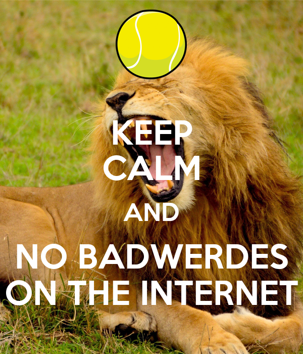 KEEP CALM AND NO BADWERDES ON THE INTERNET