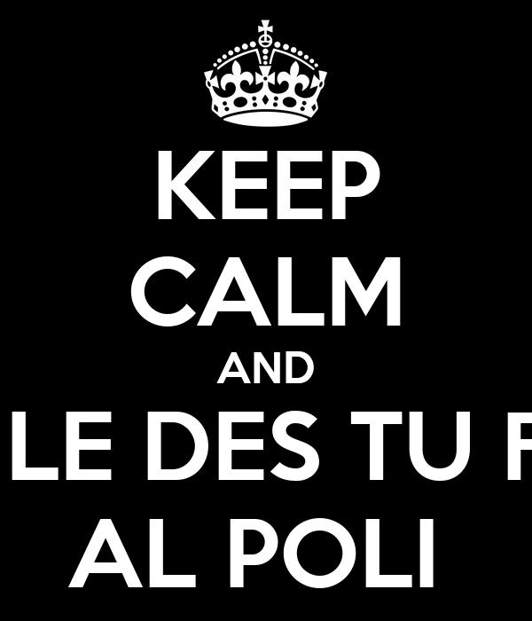 KEEP CALM AND NO LE DES TU FON AL POLI