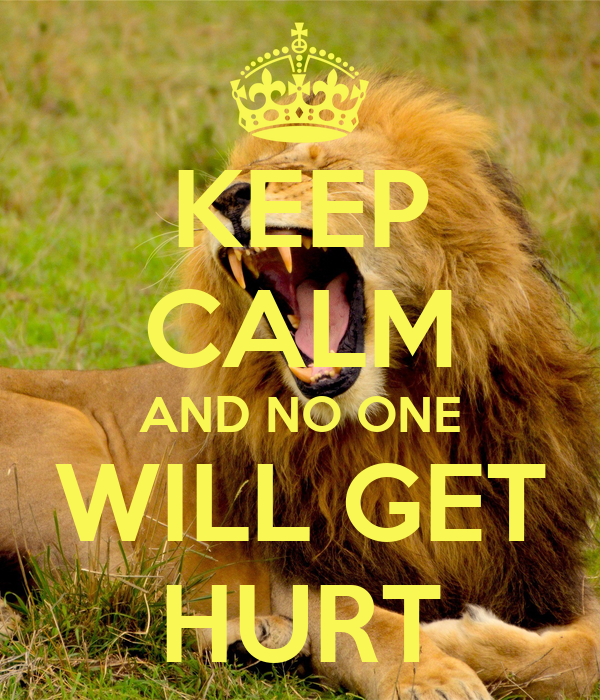 KEEP CALM AND NO ONE WILL GET HURT
