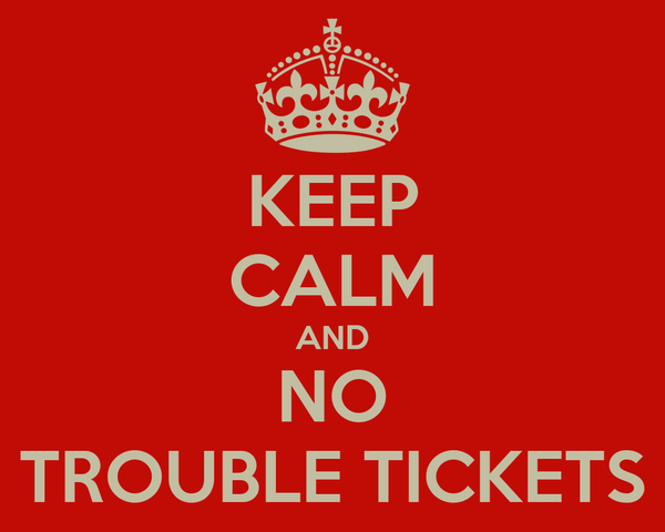 KEEP CALM AND NO TROUBLE TICKETS