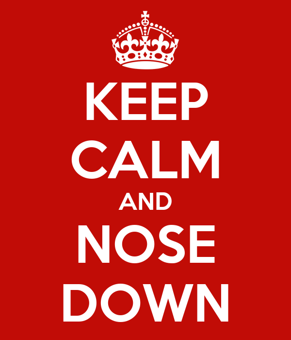 KEEP CALM AND NOSE DOWN