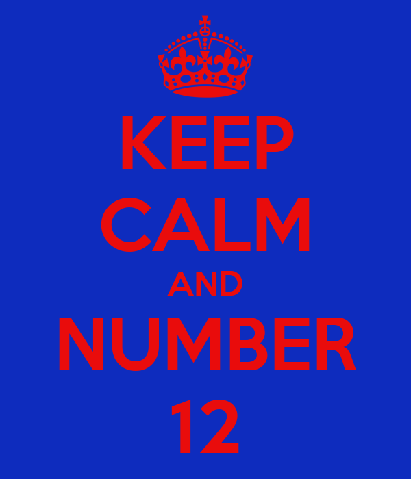 KEEP CALM AND NUMBER 12