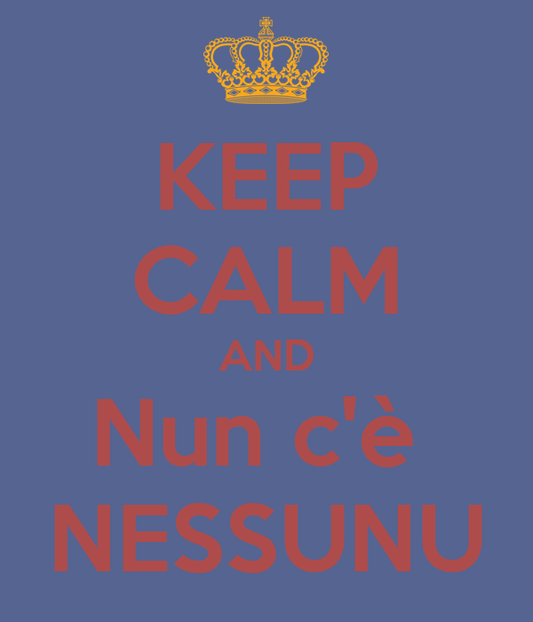 KEEP CALM AND Nun c'è  NESSUNU