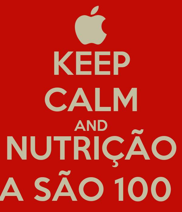 KEEP CALM AND NUTRIÇÃO AGORA SÃO 100 DIAS!!!