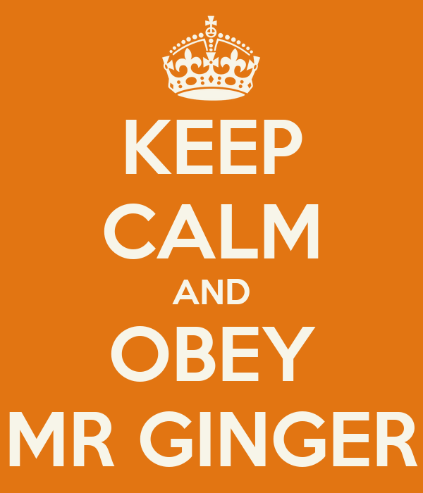 KEEP CALM AND OBEY MR GINGER