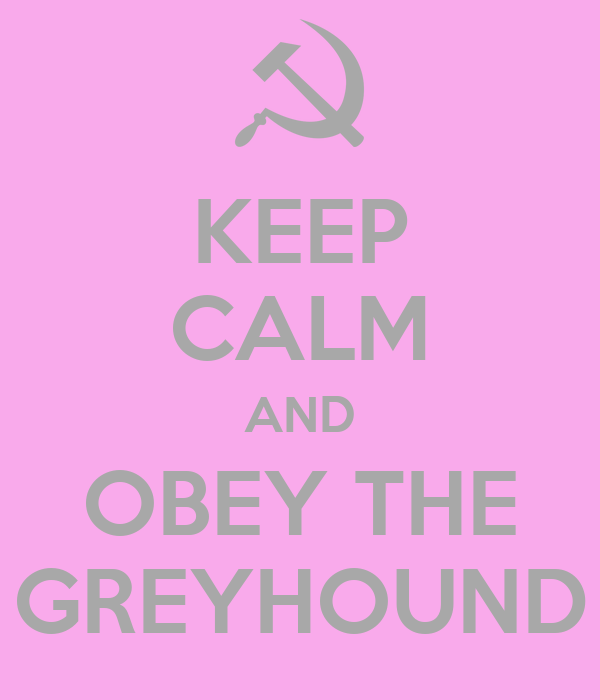 KEEP CALM AND OBEY THE GREYHOUND